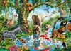 jungle-lake,Clementoni JigsawPuzzle 2000 pieces Animals in Jungle Lake beautiful colors painting Adrian Chesterm