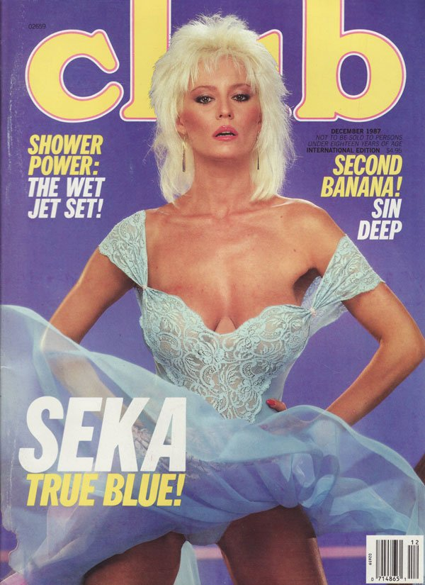 Club December 1987 magazine back issue Club magizine back copy SEKA true blue shower power the wet jet set second banana sin deep suze randal zoe marilyn chambers