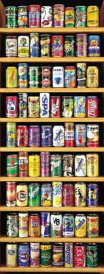 pop cans from around the world, kola, soya bean drink, johannes weben, educa jigsaw puzzle softdrinkcans