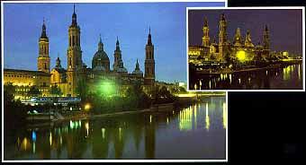Basilica del Pilar  in Saragossa Spain. Educa Puzzles Neon Series with phosphorescence to make the p basilica-del-pilar