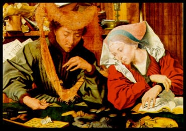 The Banker and His Wife painted by Marinus Van Reymerswaele Educa made in Spain 1000 piece jigsaw pu banker-and-his-wife-1500
