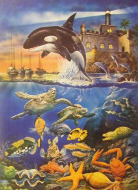 Water Ballet painting of undersea life by educa made in spain 1000 piece jigsaw puzzle water-ballet-educa