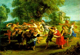 Dance of the Villagers painted by Rubens Educa made in Spain 1000 piece jigsaw puzzle dance-of-the-villagers-educa