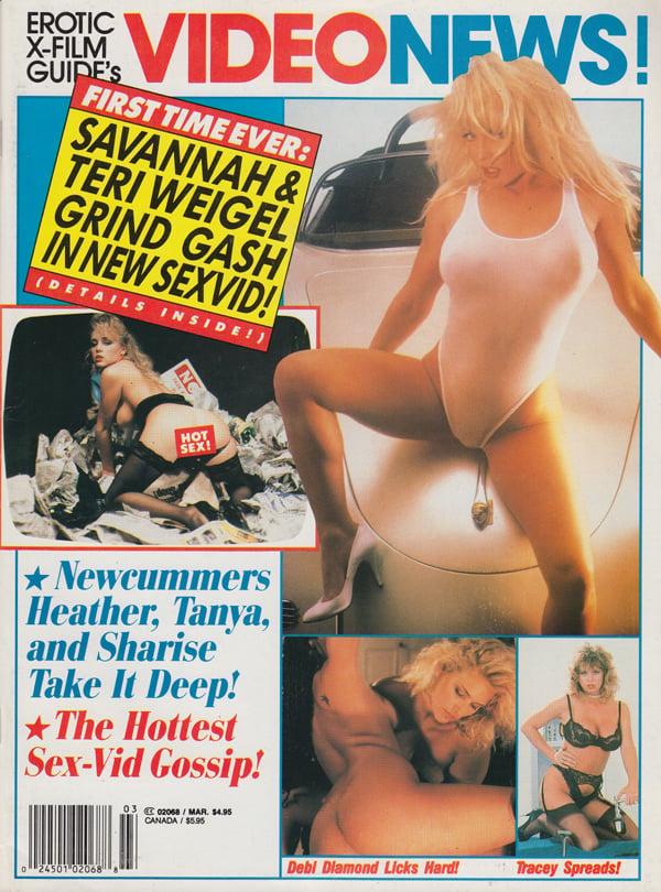 Erotic X-Film Guide Video News March 1993 magazine back issue Erotic X-Film Guide Video News magizine back copy savanna teri weigel grind gash newcummers heather tanya shairse take it deep hottest sex vid gossip