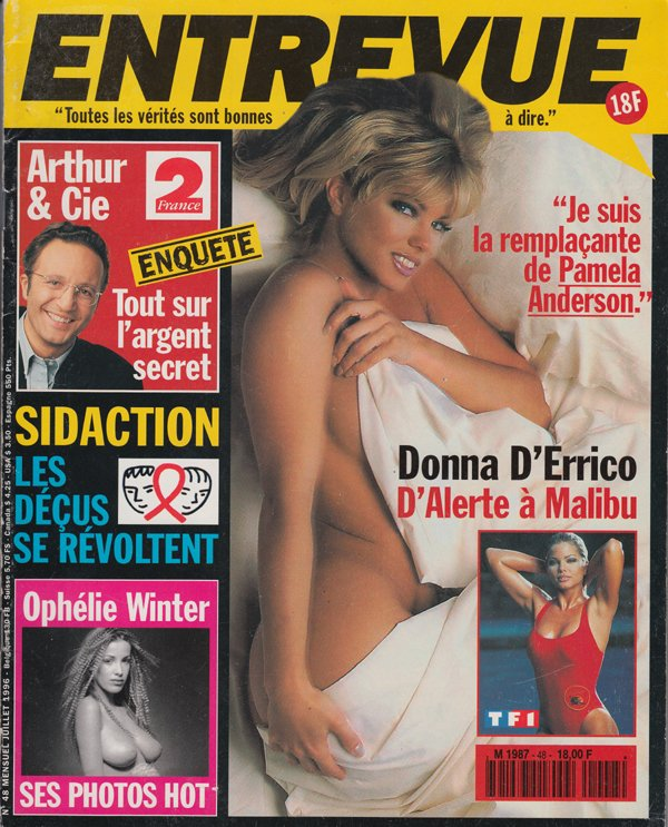 Entrevue # 48 - Juillet 1996 magazine back issue Entrevue magizine back copy arthu cie l'argent secret sidaction les decus se revoltent ophelie winter ses photo hot donna d'erri