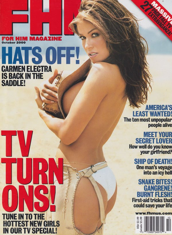 FHM # 5 October 2000 magazine back issue FHM (For Him Magazine) magizine back copy for him magazine 2000 back issues carmen electra almost nude pictorials hottest girls on tv first ai