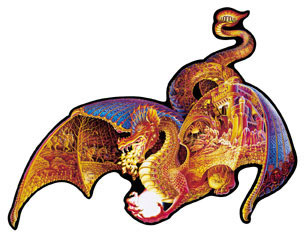 jigsaw puzzle by fx schmidt, fire dragon shaped puzzle, 1000 pieces puzzle firedragon