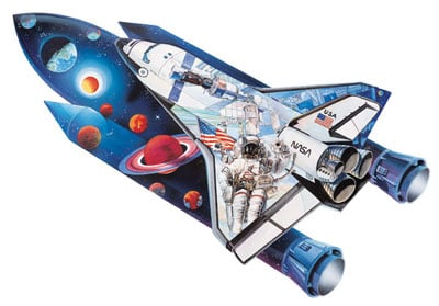 space shuttle shaped jigsaw puzzle, art by gerold como, 1000 pieces shaped puzzle spaceshuttle