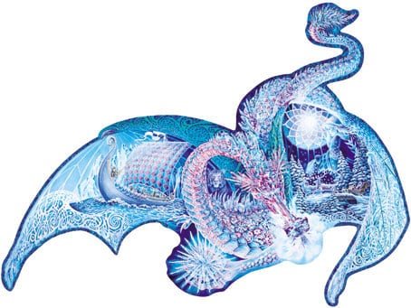3feet wide ice dragon puzzle, 1000 pieces sally j smith artwork, shaped puzzle dragon fx schmid icedragon