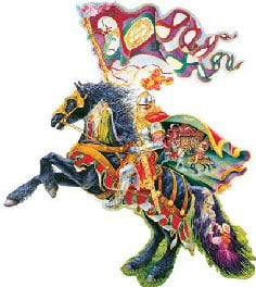 legend of the knight shaped 1000 piece jigsaw puzzle by fx schmid. shaped design of a medieval knigh legendoftheknight