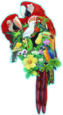 a 1000 piece shapped puzzle of tropical birds including two scarlett macaws by fx schmid featheredfriends