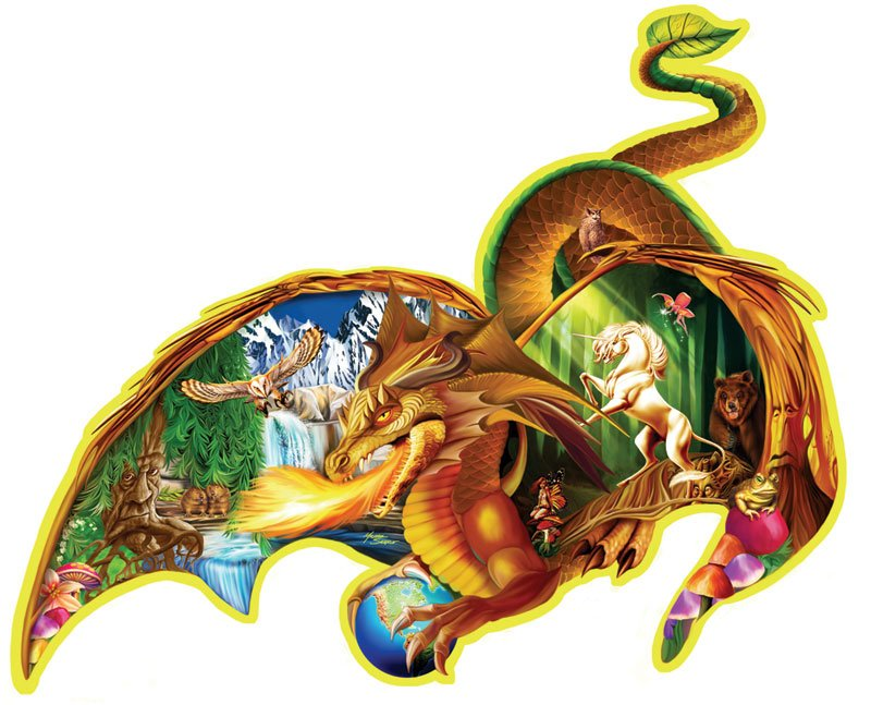jigsaw puzzle by fx schmidt, earth dragon shaped puzzle, 1000 pieces puzzle, michaelserle earth-dragon-puzzle