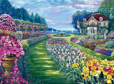 fernando agudelos paradise garden painting as an FX schmid 1000 piece jigsaw puzzle paradisegarden