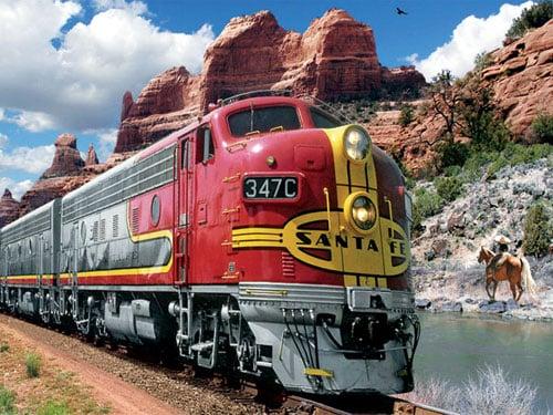 santa fe train super chief beautiful nature scene behind train by artist larry grosman jigsaws puzzl santafesuperchief