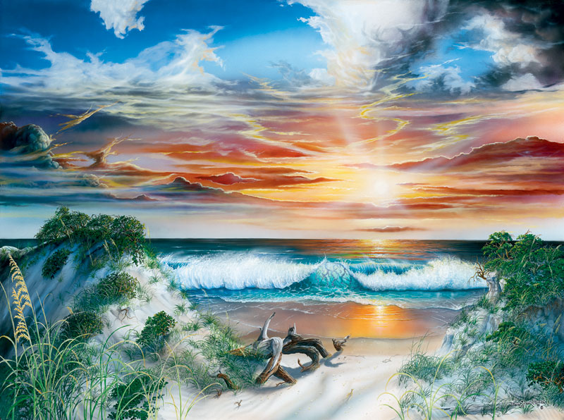 emerald paradise painting dann spider warren artist 1000 piece jigsaw puzzle emerald-paradise-dann-spider-warren