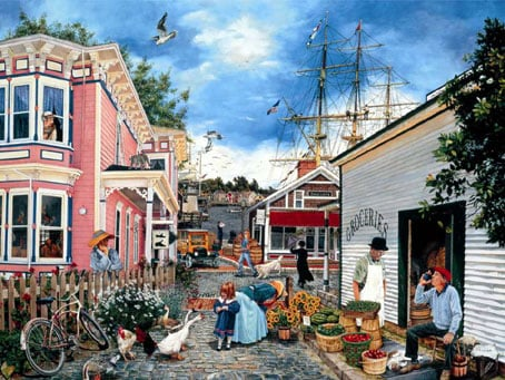 seacove village painting fx schmid jigsaw puzzle, 2000 pieces seacovevillage