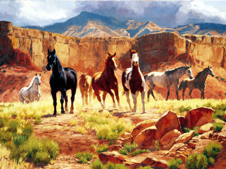 canyon horses painting, fx schmid jigsaw puzzle, 2000 pieces canyonhorses