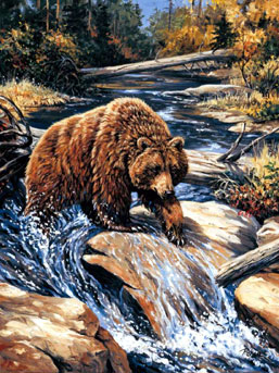 jigsaw puzzle of a grizzly bear, linda picken painting puzzle, 2000 pieces grizzlybear