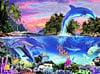 dolphinparadise,meikle john graphics paiting of dolphins glow in the dark jigsaw puzzle fx schmid german engineered