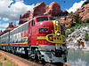 santafesuperchief,santa fe train super chief beautiful nature scene behind train by artist larry grosman jigsaws puzzl