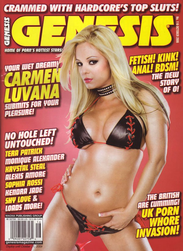Genesis October 2006 magazine back issue Genesis magizine back copy genesis magazine crammed with hardcore's top sluts fetish kink anal ndsm story of o carmenluvana ken