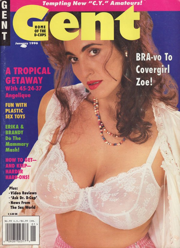 Gent January 1996 magazine back issue Gent magizine back copy gent home of the d-cups used magazine backissue angelique tropicalgetaway fun with plastic toys bra-
