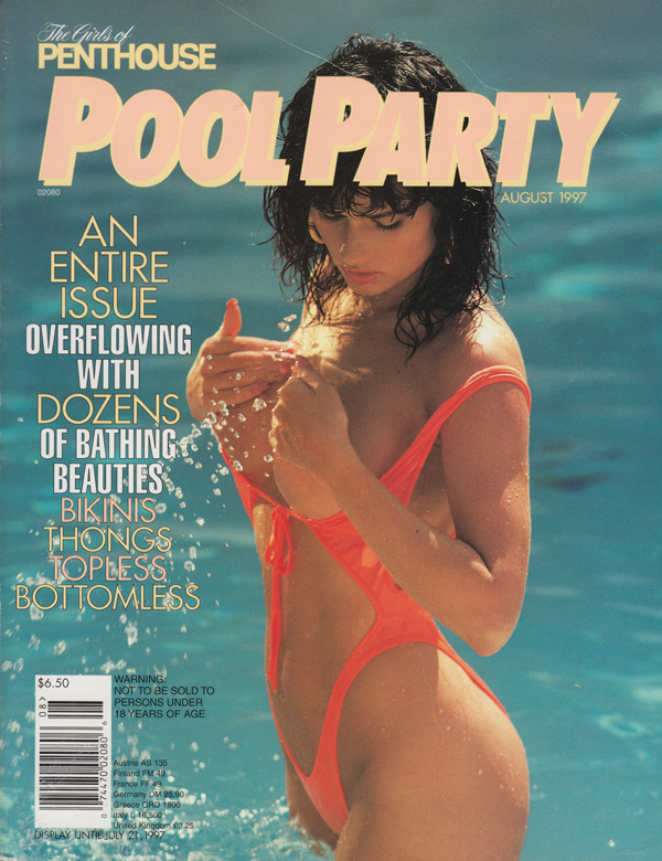 Girls Penthouse August 1997 - Pool Party magazine back issue Girls of Penthouse magizine back copy overwhelming dozens of bathing beauties bikinis thons topless bottomless pool party girls of penthou