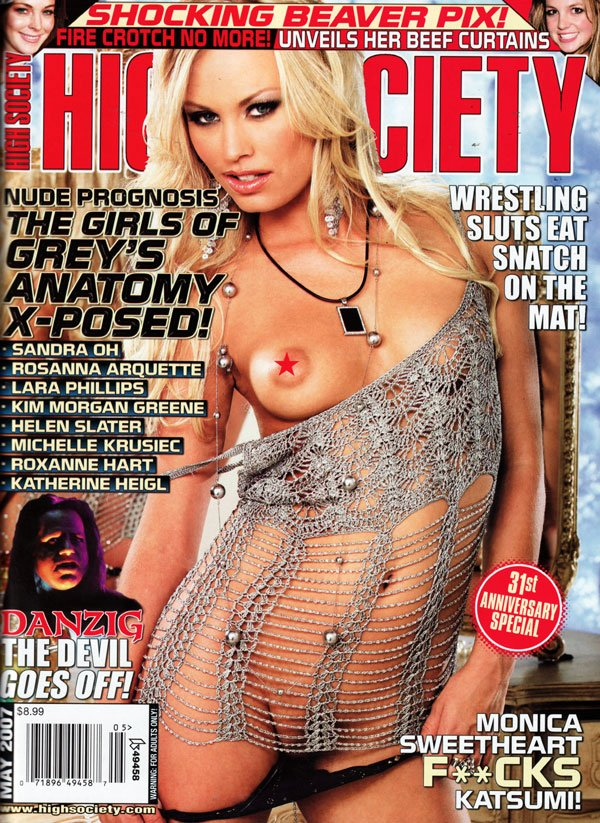 High Society May 2007 magazine back issue High Society magizine back copy may 2007 high society magazine, danzig, lilith and the bible and adam, sexy naked celebrities, nude