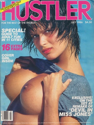 Hustler July 1986 magazine back issue Hustler magizine back copy  Adult Fun in 11 Citites, 'Devil in Miss Jones', Erotic Entertainment, Route 69, Beaver Hunt, Sin Ci