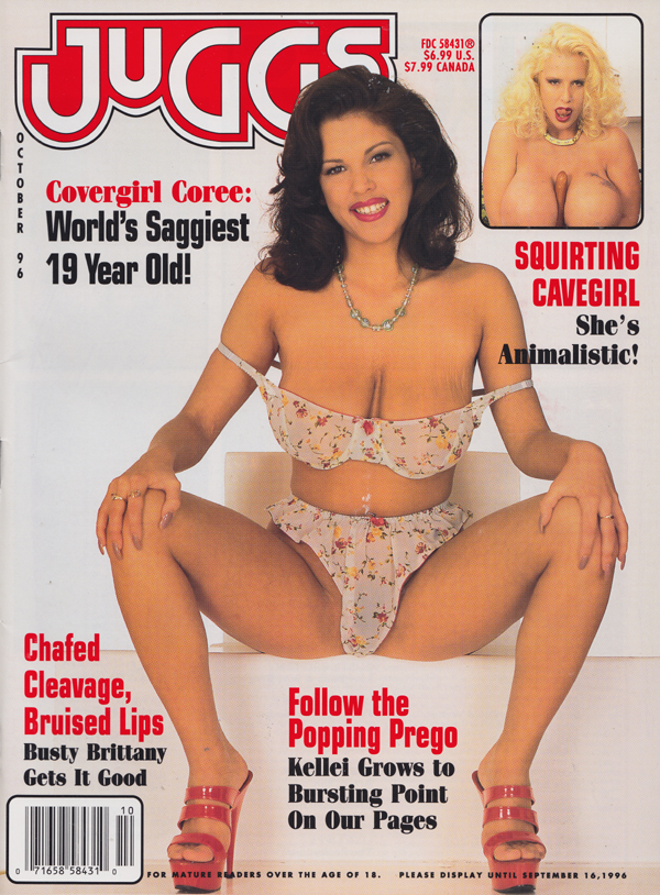 Juggs October 1996 magazine back issue Juggs magizine back copy  Popping Prego, Squirting Cavegirl, Animalistic, Chafed Cleavage, Bruised Lips, hooters,tit news