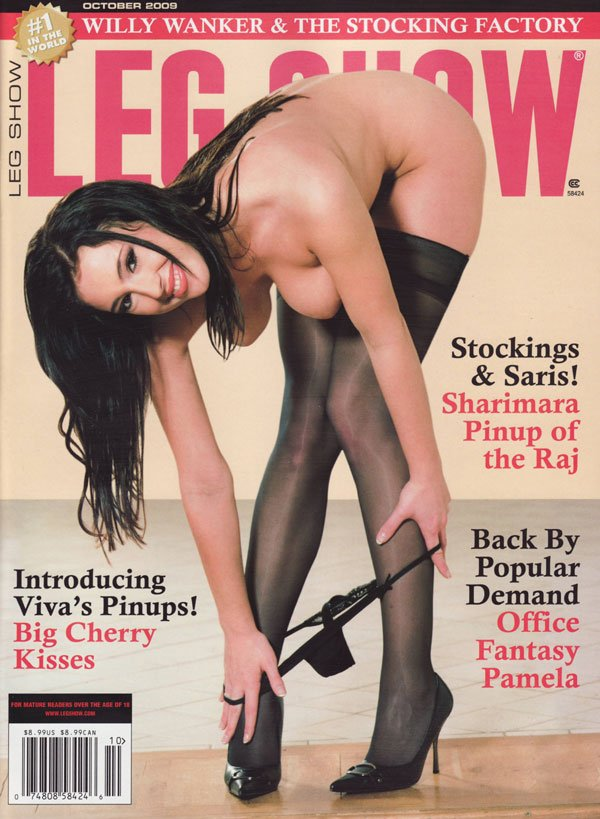 Leg Show October 2009 magazine back issue Leg Show magizine back copy Indroducing viva's pinups big cherry kisses stockings and saris sharimara pinup of he raj back by po