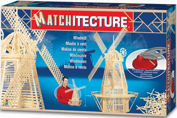 windmill replica 3d model match stick jigsawpuzzle made of matches cut to size with full kit & instr windmill