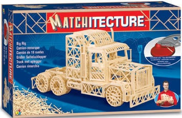 Truck Trailer 3d puzzle replica made of matchsticks by matchitecture 2000 matches with special cutte bigrig
