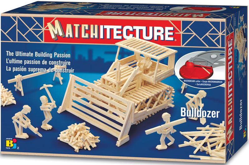 bulldozer three dimensional jigsaw puzzle replica matchstick puzzle matchitecture bojeux bulldozer-matchstick-puzzle