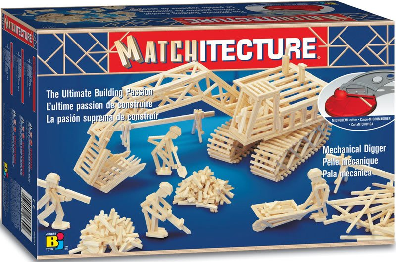 mechanical digger three dimensional jigsaw puzzle replica matchstick puzzle matchitecture bojeux mechanical-digger-matchstick-puzzle
