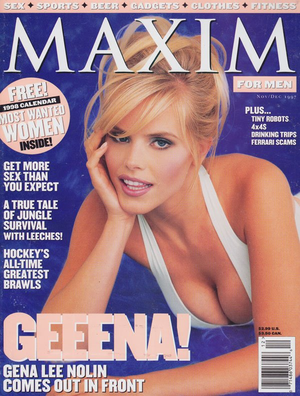 Maxim # 4 - November/December 1997 magazine back issue Maxim magizine back copy maxim magazine 1997 back issues gena lee nolin covergirl non-nude erotic celeb pix sex advice for me
