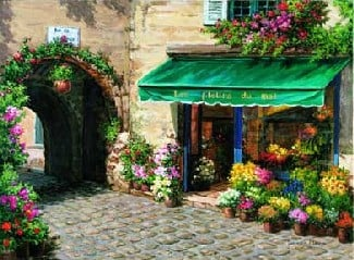 FlowerShop Fran�oisLim artwork jigsaw puzzle made by Nathan Puzzles 1500 Pieces flowershop