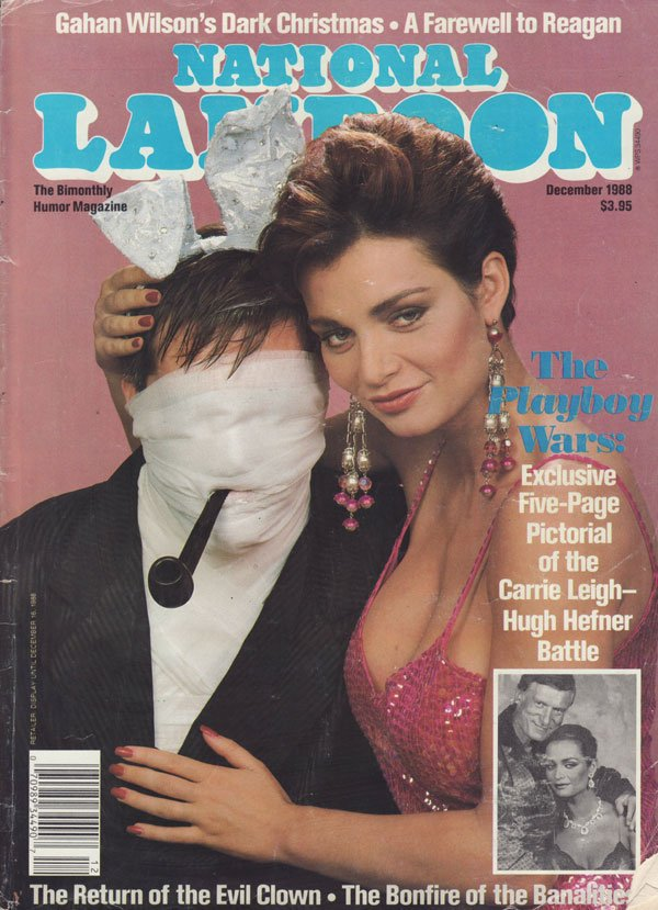 National Lampoon December 1988 magazine back issue National Lampoon magizine back copy carrie leigh hugh hefner playboy wars gahan wilson's dark christmas farewell to regan bonfire of the