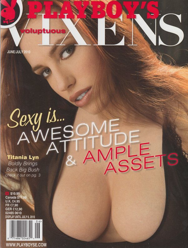 Voluptuous Vixens # 22, June/July 2010 magazine back issue Playboy Newsstand Special magizine back copy sexy is awesome attitude ample assets titania lyn boldy bring s back big bush camron haven ossy slet