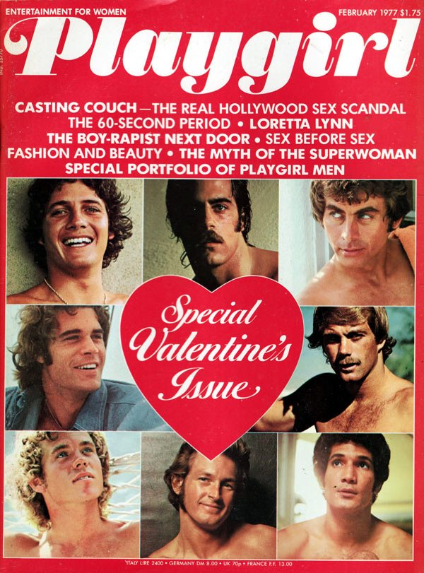Playgirl February 1977 magazine back issue Playgirl magizine back copy playgirl magazine back issue, february 1077 special valentine's issue, hot nude guys, fashion and be