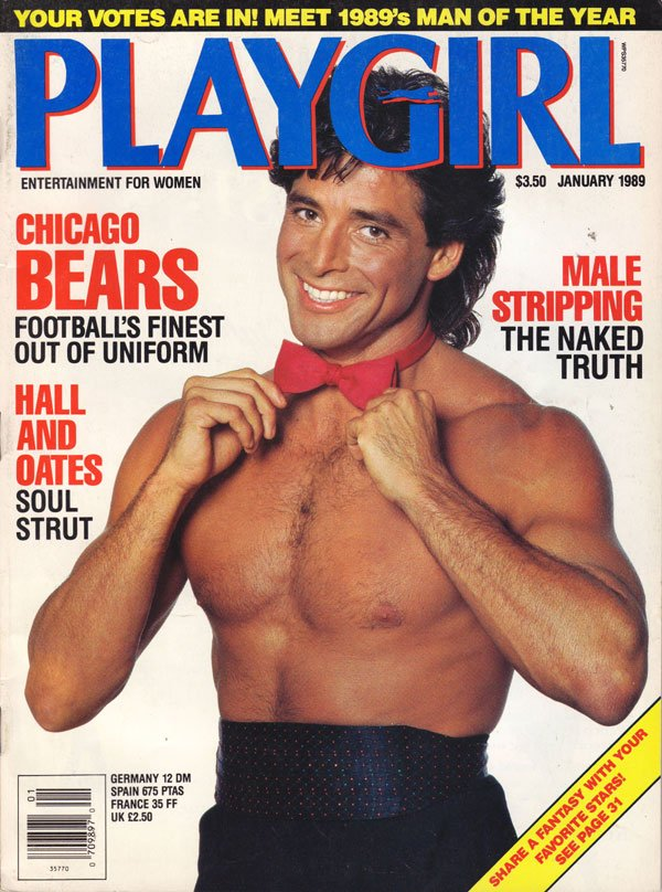 Playgirl January 1989 magazine back issue Playgirl magizine back copy chicago bears, male stripping, fantasy, hollywood stars, playgirl magazine, used back issues, vintag