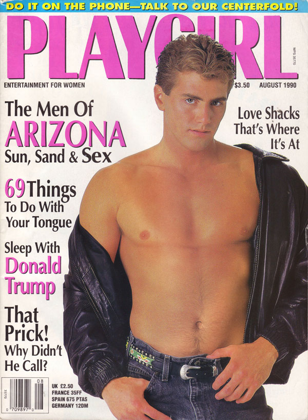 Playgirl August 1990 magazine back issue Playgirl magizine back copy love shacks, playgirl magazine, back issue 1990, nude centerfold, donald trump, men of arizona, kiss