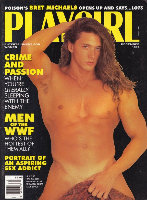 ... back issue Playgirl magizine back copy brett michaels, nude men,