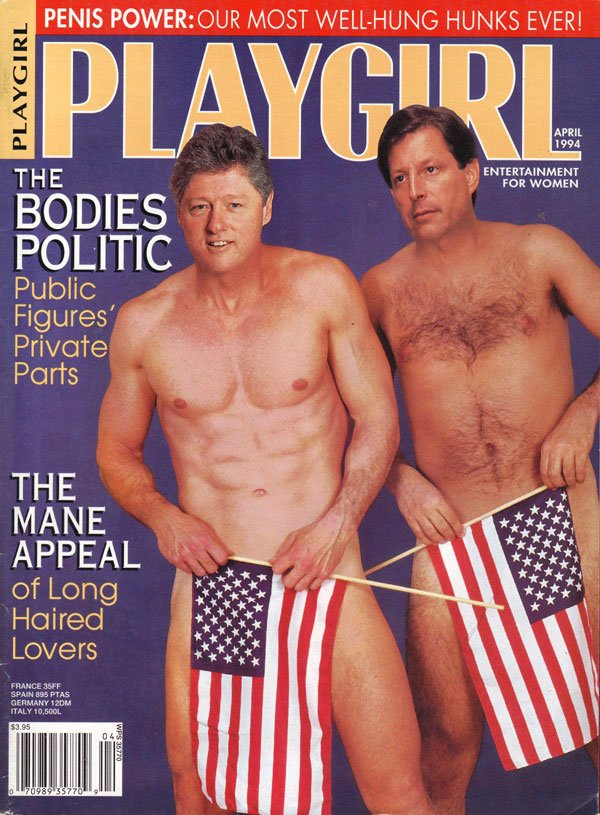 Playgirl April 1994 magazine back issue Playgirl magizine back copy bill clinton, al gore, play girl magazine, well-hung hunks, backissues, centerfold, real naked men,