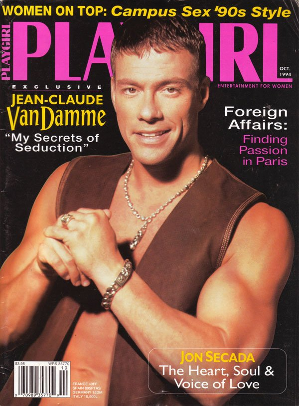 Playgirl October 1994 magazine back issue Playgirl magizine back copy jean-claude van damme, campus sex, passion, paris, nude men, playgirl magazines, used issues, sexy m