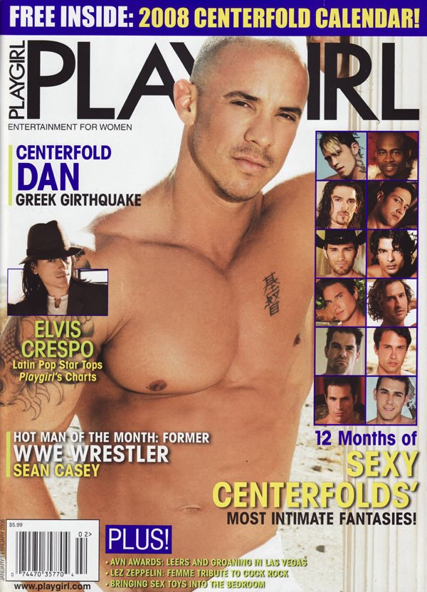 Playgirl January/February 2008 magazine back issue Playgirl magizine back copy playgirl magazine 2008, elvis crespo latin pop star, 12 sexy centerfolds, hot nude guys, wwe wrestle