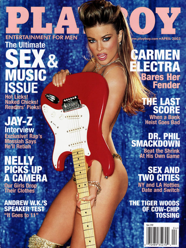 Playboy April 2003 magazine back issue Playboy magizine back copy carmen electra bares her fender drphil dr.phil smackdown sex & two cities nelly celebrities usedmags