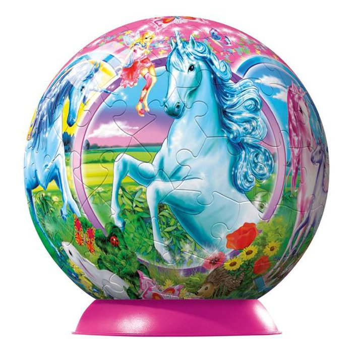 3d jigsaw puzzleball of unicorns on a 9 inch spherical globe showpiece collectable ball unicorns-puzzleball-ravensburger