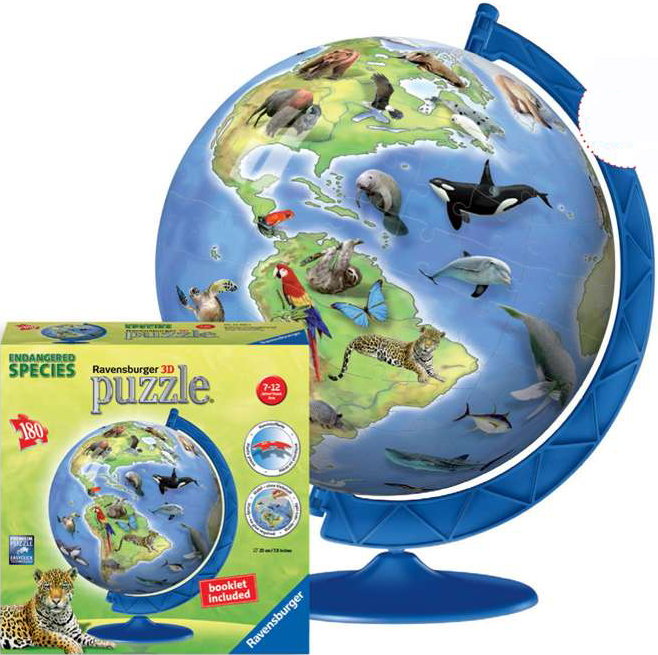 3d childrens earth extra large jigsaw puzzleball of the planet earth showing the endangered species  worlds-endangered-species-ravensburger-3d-globe