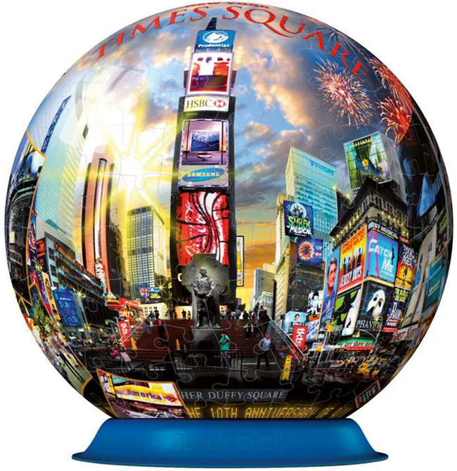 times square, new york globe jigsaw puzzleball 6 inch spherical globe showpiece collectable times-square-puzzleball-ravensburger